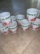 Vintage X-mas Tom And Jerry Mugs Set Of 8 White Glass W/red And Green Letters.
