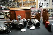 Contax Iia Jena 5cm F2, Zeiss Opton 35mm 2.8, E Leitz Viewfinder Sonnar 135, Acc