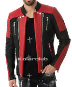 Two Color Menand039s Real Leather Rider Motor Bike Motorcycle Jacket Cocktails M61