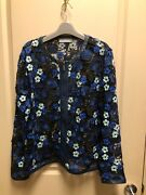 Bagatelle Embroidered Blue And Black Floral Jacket Xl Zip Front Beautiful