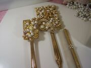 Vintage Old Hollywood Gold Tone Jeweled Vanity Mirror Brush And Comb Set