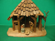 Vintage Anri Kuolt Wooden Nativity Creche Stable With Mary Joseph And Baby Jesus