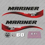 Mariner 60 Hp Four Stroke Efi Outboard Engine Decals Sticker Set Reproduction