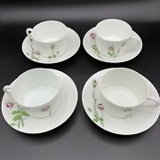 Christofle Tea Cup And Saucer Set Of 4 Nbd Limoges France Handpainted Roses