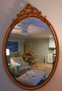 Sale Gorgeous Vintage Ornate Oval Wall Mirror Gesso Gold 28 X 21 Hollywood