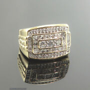 High End 3.00 Ct. Genuine Diamond Menandrsquos Signet Ring 10k Yellow Gold Size Us10