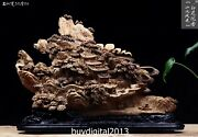 53 Cm Indonesia Agarwood China Mountain Water Building Village Scenery Sculpture