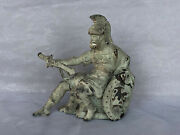 Antique Spelter Clock Topper Figure Greek Warrior Statue N Mullers Sons Ny 1887