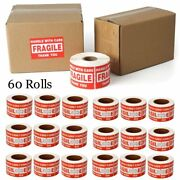 30000 Fragile Stickers 3x5 Handle With Care Shipping Warning Labels - 60 Rolls