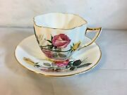 Royal Victoria Fine Bone China Gold Rimmed Tea Cup And Saucer Pink And Yellow Rose