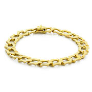 Estate 18k Yellow Gold Specialty Curb Link Chain Bracelet Unisex 8.5 10.5 Mm