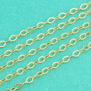 14k Gold Filled Bulk Flat Cable Chain 2.2mmx3.2mm Link By The Foot