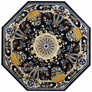 Octagon Marble Lawn Table Top Black Hallway Table Gemstones Inlaid 48 Inches