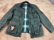Rugby Oil Cloth Waxed Cotton Motorcycle Jacket Size Large