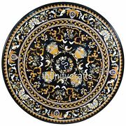 48 Inch Marble Dining Table Top Black Patio Coffee Table Top Floral Inlay Work