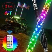 4ft Rgb Led Chasing Dancing W/ Wireless Remote Flag Whip Light For Utv Rzr Jeep
