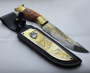 Wolf. Hunting Damascus Knife. A Gift To The Hunter. Work Of Art. Gear Camping