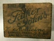 Antique Father John's Wood Wooden Box-dovetailed-medical-medicine-lowell Mass