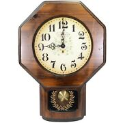 New England Wooden Schoolhouse Time Wall Clock Oiled And Tested School House