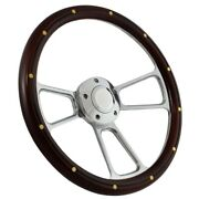 14 Steering Wheel Polished Billet And Mahogany For 1949 - 1991 Ford Pick Upand039s