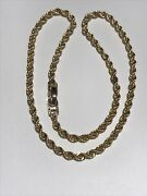Solid 14k Yellow Gold 15 Inch Rope Chain Link 3.5 Mm Necklace Double Lock