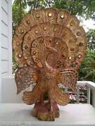 Antiqe Carved Peacock Solid Wood Wall Panelwooden Carvingshome Decorfolk Art