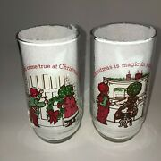 Lot Of 2 Mint 1978 Holly Hobbie And Robby Coca Cola12 Days Of Christmas Glasses
