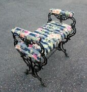 Vtg Cast Iron Bench Seat Stool Arms Paw Feet Scrollwork Rococo Baroque