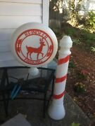 """Reindeer Parking Blow Mold Union Sign Candy Cane Christmas Vintage 46"""""""
