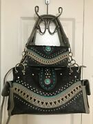 Embroidered And Studs Concealed Carry Handbag With Crossbody Wallet - Black
