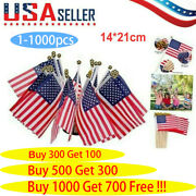 1-1000pcs Small American Flags Small Us Flags/mini American Flag On Stick 5x8 In