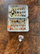 Vintage Wheatley 51 Clip Pocket Alloy Fly Box With 50 Period Dry And Wet Flies
