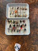 Vintage Wheatley 51 Clip Pocket Alloy Fly Box With 37 Period Dry And Wet Flies