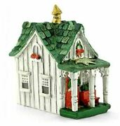 Green And White Christmas Cottage, Holiday House With Light, Christmas Decor