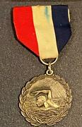Unmarked Swimming Silver Medal With Usa Ribbon Laurel Figural