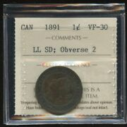 1891 Canada Large Cent - Iccs Vf-30 - Large Leaves Small Date Obverse 2 - Zh651