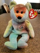 Peace The Bearbeanie Baby, 1996, Style 4053, Mint Condition, Rare W/ Tag Errors