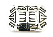 Native American Sterling Silver Hand Made Rugs Design Belt Buckle