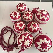 Vintage Victorian Style Hand Made Quilted Fabric Christmas Ornaments Burgundy