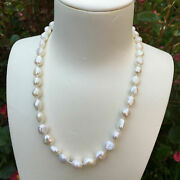 Nice 8-9x9-11mm Natural Baroque Freshwater Pearl White Necklace Aaa+46cm Dl91