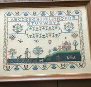 Vintage Completed Sampler By Paragon Company Embroidery Cross Stitch 1965
