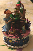 Vintage Disney Peter Pan Wendy Tinkerbell You Can Fly Rotating Music Box Rare