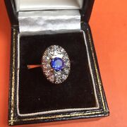 Russian Ladies Vintg 14k Gold Ring With Blue Topaz And 14 Diamonds.