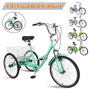 Adult Tricycle 20/24/26 7-speed Trike 3-wheel Bicycle W/ Basket For Shopping
