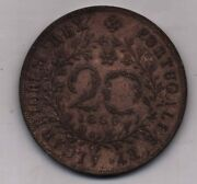 Azores 1866 20 Reis Portugal Copper Coin Money King Ludovicus I