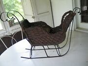 Antique Victorian Doll Wicker And Wrought Iron Horse Drawn Sled/sleigh Carriage