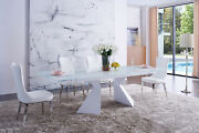 Esf Modern White Glass Top Dining Set 992 Table And 6138 Chairs Set Of 7 Pieces