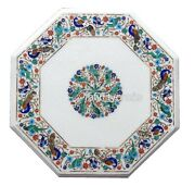 18 Inches White Marble Coffee Table Top Center Table Top With Multi Color Stone