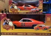 Set Of 2 Dukes Of Hazzard General Lee By Johnny Lightning 118 And 125 Chase Car