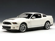 2010 Ford Mustang Shelby Gt500 Cobra White Silver Stripes 118 By Autoart 72917